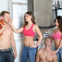 Hot girls in denim jeans Dava and Molly tie up two men and abuse them