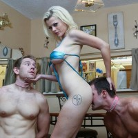 Petite blonde Nadia White having her way with 2 muscled submissive hunks