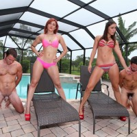 Bikini and high heel clad wives Amadahy and Rilynn control subby hubbies by pool