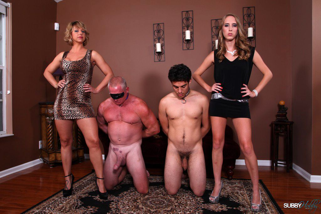 Poor Subby Hubbies topped by clothed females Brianna and Cadence Lux
