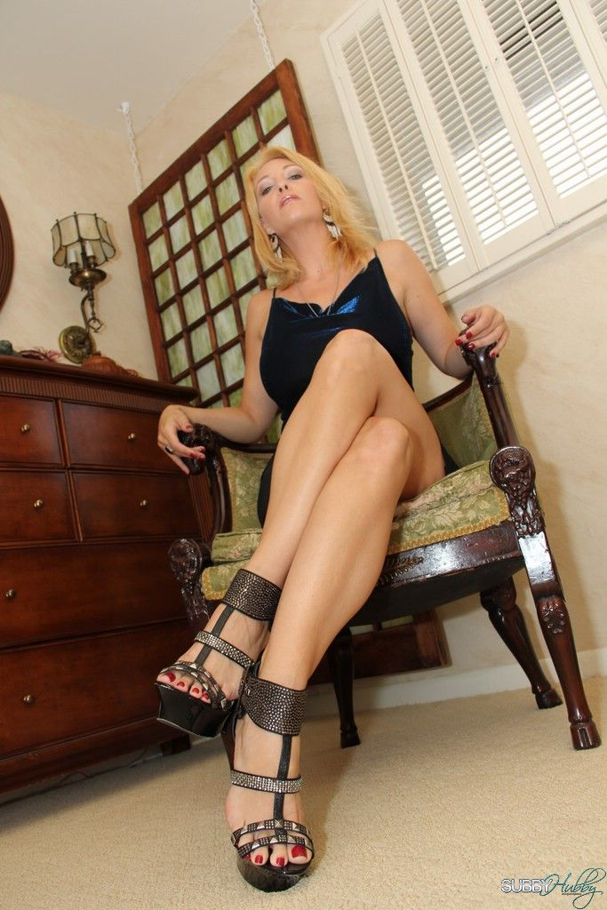Beautiful blonde wife Charlee Chase chipmunking subby hubby with strapon cock