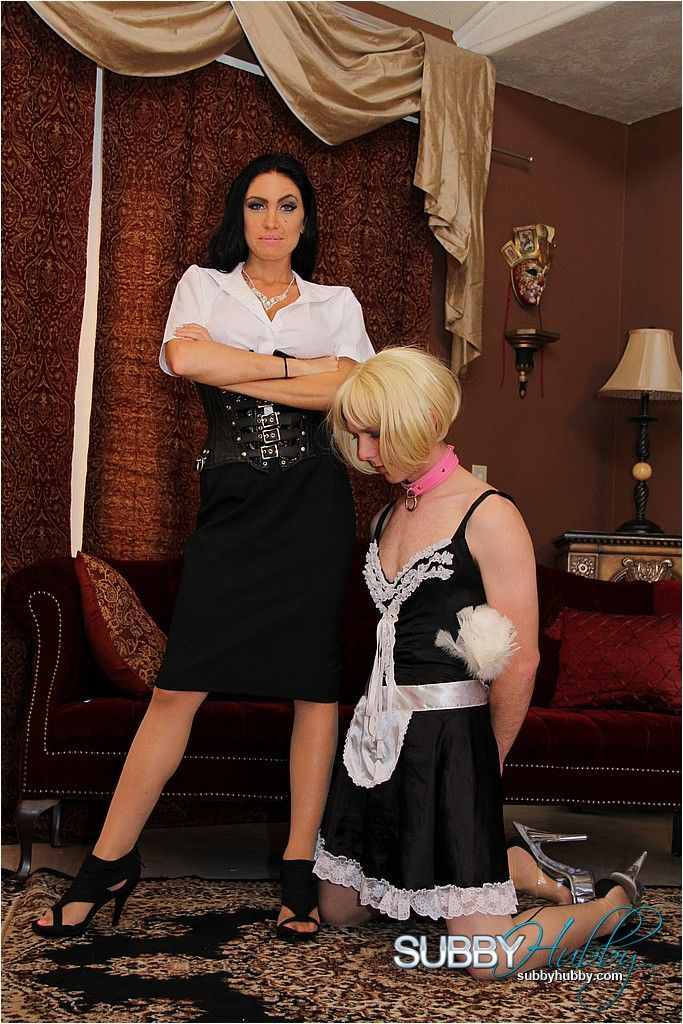 Subby Hubby crossdresser in stockings does as mistress Emmanuelle London says