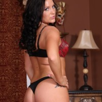 Dark-haired wife Hayden Bell showcasing super-cute backside before riding dick in front of cuckold