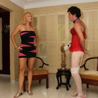 Dominatrax Charlee Chase forces pantie wearing Cuckold