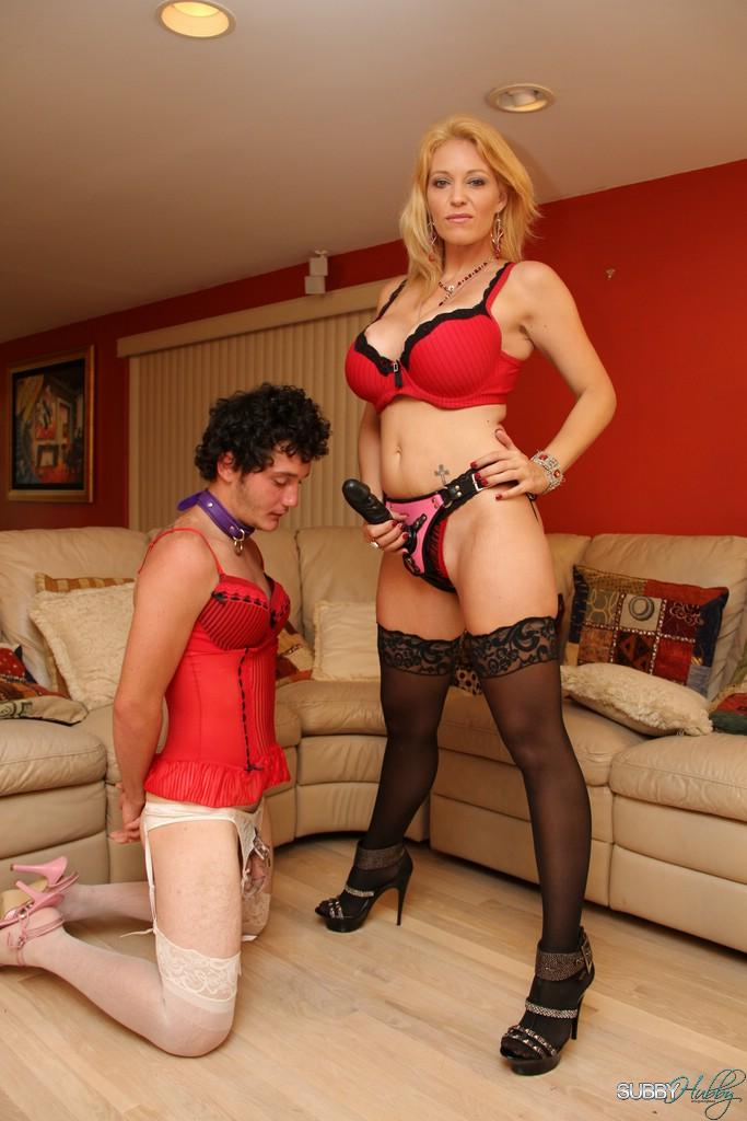 Lanky stocking outfitted blond mistress Charlee Pursue face fucking crossdressing sissy maid