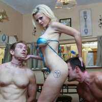 Light-haired female Nadia White dominates 2 sissy guys that worship her bare feet