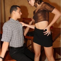 Little mistress Riley riding large knob while cuckold eats hairless vag and knob
