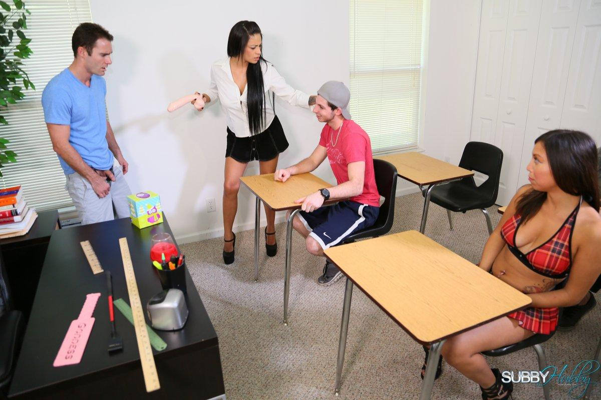 Sex education lecturer Jamie Valentine humiliating students with gigantic sex toy