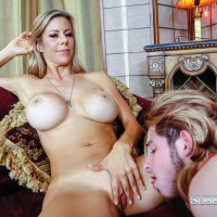 Spindly fair-haired X-rated film starlet Alexis Fawx having barefeet sucked by crossdresser in lingerie