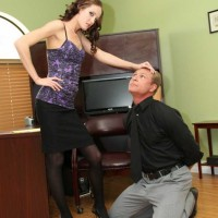 Sultry mistress Haily Young with a crossdressing Cuckold