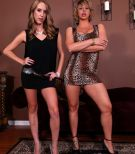 leggy blonde wives Cadence Lux and Brianna pegging submissive husbands