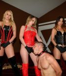 Club Dom presents three hot chicks fucking male submissives with strapon cocks