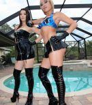 Fully-clothed females Daisy Marina and Angel enjoy some COCK AND BALL TORTURE with a masked masculine slave