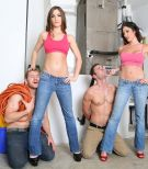 Fully-clothed stunners Dava and Molly dominate collared sissy guys in high-heels and denim jeans
