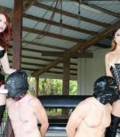 Stunning females Kendra and Alexa butt screwing hooded boys with strap-on cocks