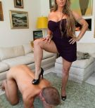 Clothed girlf Holly Halston hikes her sundress and makes her slave eat her rump and vagina