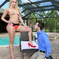 Top rated domme Vanessa Cage using her subby hubby beside swimming pool