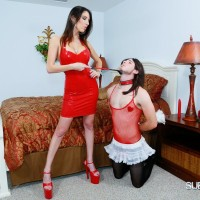 Leggy brunette wife Dava Foxx training crossdressing sissy maid with riding crop