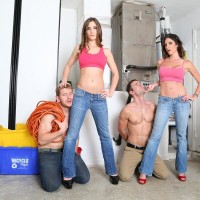 Hot chicks in jeans Dava and Molly for two men into being subby hubby material