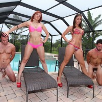 Bikini clad wives Rilynn and Amadahy dominate sissy hubbies beside pool
