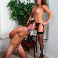 Nylon attired wife Allura Sky forcing subby hubby to lick ass and pussy in heels