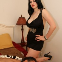Clothed and cruel wife Shae Fatale tops and hogties her submissive husband