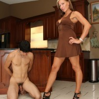 Leggy wife in high heels Christine dominating collared subby hubby in kitchen