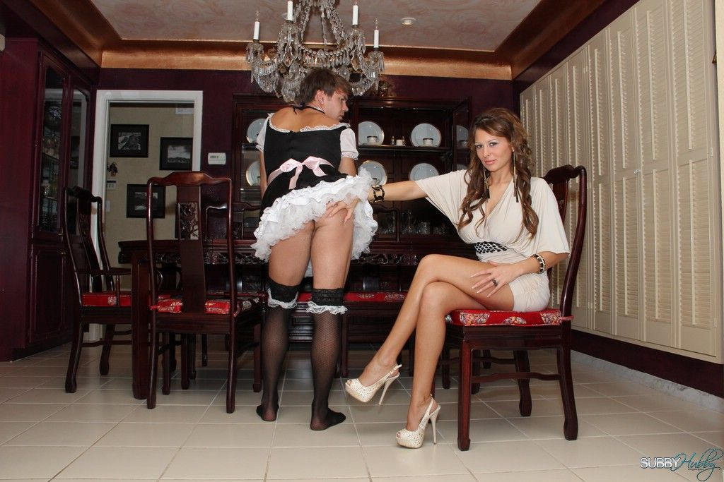 Leggy wife Alison Star flashes upskirt panties while watching sissy maid give BJ