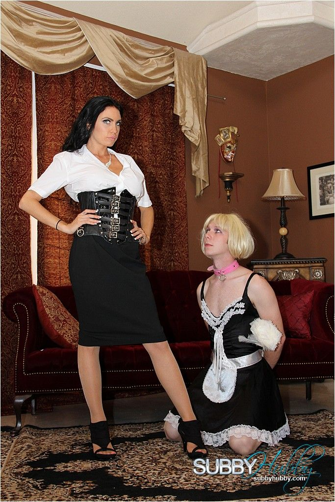 Hot brunette wife Emmanuelle London training sissy maid in stockings and high heels