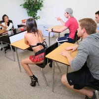 Non nude sex teacher in skirt and heels spanks bare asses and uses sex toys on students