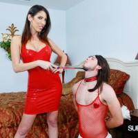 Brunette wife with long legs having crossdressing sissy maid worship barefeet