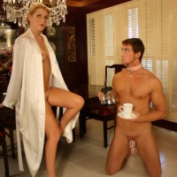 Blonde housewife Ashley Edmunds forces cross dressing subby hubby to suck cock