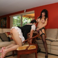 Cruel Mistress Angie Noir face fucks her Subby Hubby with big strapon cock