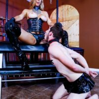 Fair-haired domineering type Alexis Fawx face fucking her sissy spouse with a strapon in spandex boots