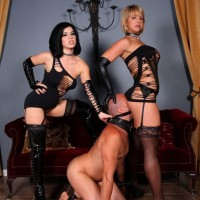 New from Club Dom is Belle Noir and a hot blonde dominating a male sub