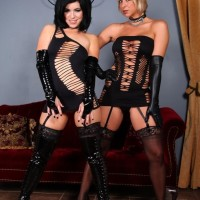 Hot Dom Belle Noir and girlfriend top a submissive male before jerking his dick