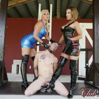 Hot babes in thigh high latex boots and dresses top a submissive man