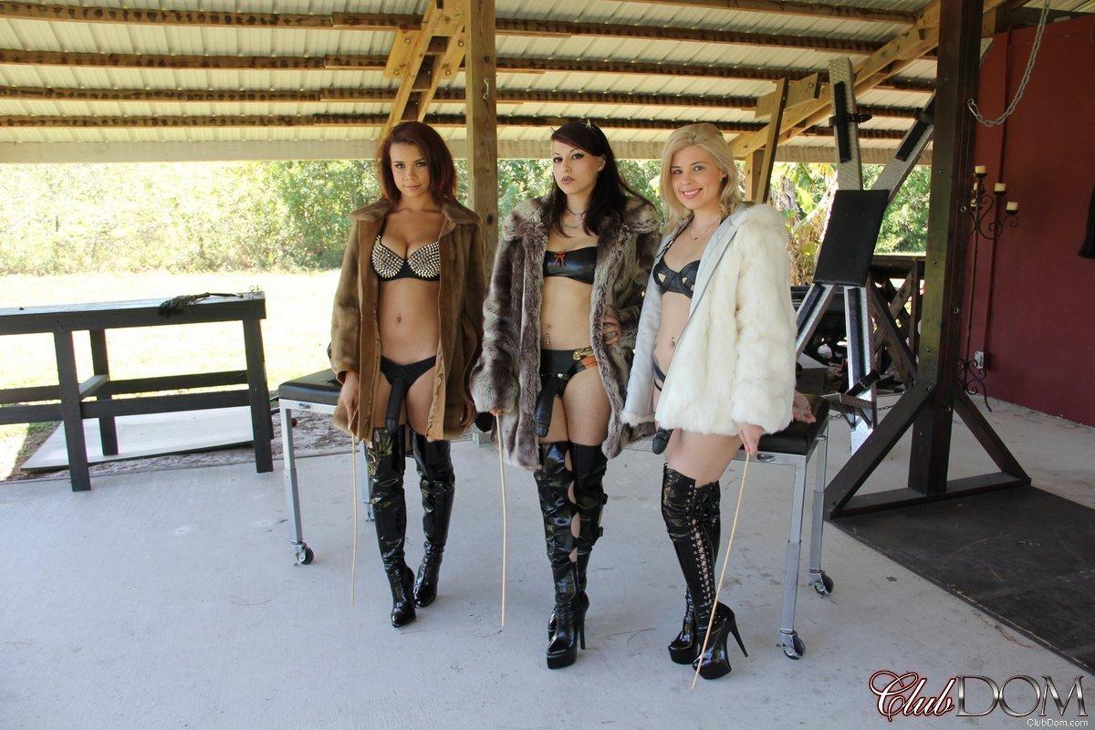Isobel Raven and a couple of cruel bitches strapon fuck a restrained male sub