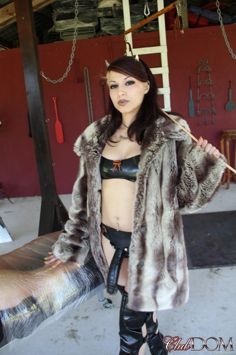 3 clothed women cane and torture submissive male on Femdom site Club Dom