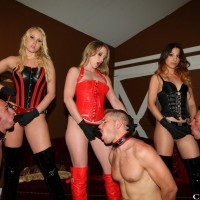 Vanessa Cage and girlfriends dominate sissy men in the latest Club Dom update