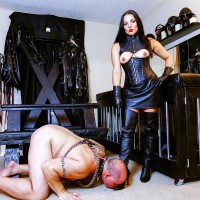 Dark haired dame Michelle Lacy dominates her submissive spouse in thigh highs