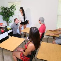 Hot brunette professor Jamie Valentine makes her students get naked during a sex education class