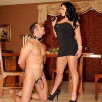 Dark haired wife Bella Reese makes her male sub eat out her asshole in high heels