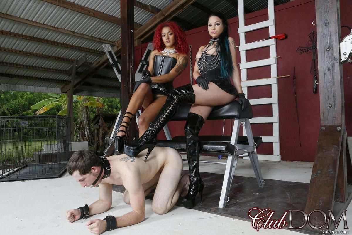 Domme Daisy Ducati and her wife dominate a male sub in high-heeled shoes