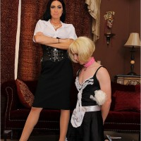 Domme brown-haired mistress Emmanuelle London abjecting crossdressing sissy maid