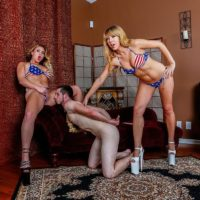 Domineering types Mickey Tyler & Goddess Kelly Paige use a sissy as they see fit