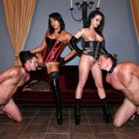 Enticing damsels Adriana Lynn and Mia Li make male slaves adore their butts