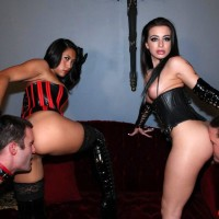 Enticing damsels Adriana Lynn and Mia Li make male slaves adore their butts