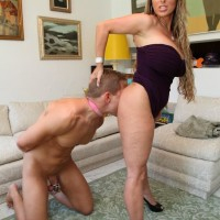 High heel outfitted dominant Holly Halston having collared sissy gobble out fuckbox