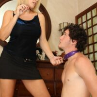 Fair-haired wife Charlee Haunt makes her subby hubby blow a strap-on cock